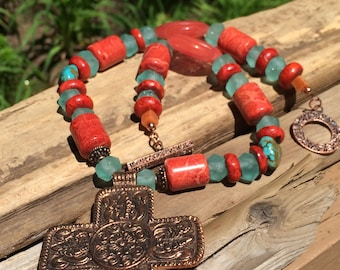 Copper cross necklace Coral and African recycled glass trade bead necklace beaded summer statement necklace gift for her copper anniversary