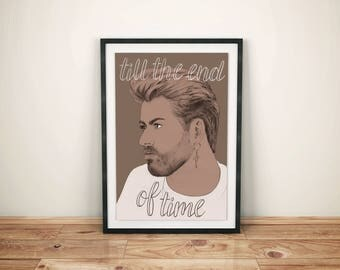 George Michael Poster // song lyric, mom gift, wall decor, gift for him, 80s music poster, pop culture gifts, music gifts, 80s art print