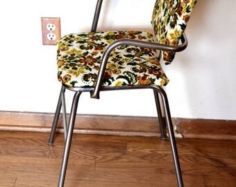 50s Vintage High Chair Reupholstered in Vintage Fabric
