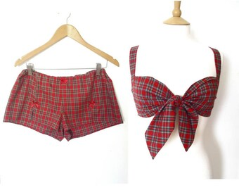 Red Tartan Pyjama Set, Tartan Tie Front Bra Top and Matching Shorts, Christmas Lingerie Gift Set, Pin Up Top, Gift for Her, Sizes: XS-XL