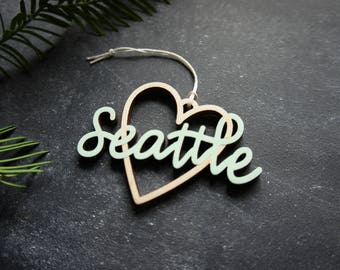 Seattle Heart Christmas Ornament - Choose your color! | Christmas Ornament | Housewarming Gift | Christmas Gift | Seattle Heart