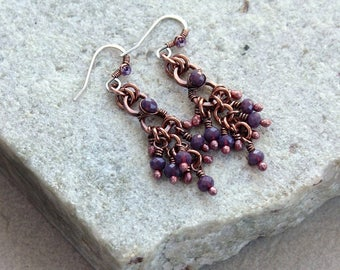 Purple Beaded Chandelier Earrings, Small Size, Antique Copper, Crystals, Wire Wrap, Handcrafted, Canada, Sterling Silver Earwires