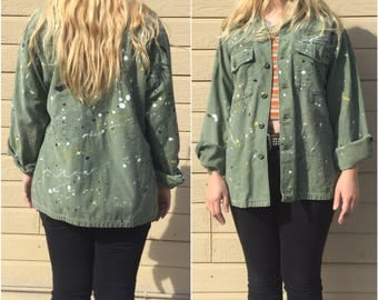 Vintage US Army Jacket - Painted - Olive Drab- Oversized - Boyfriend- US Army Shirt Jacket  - 60/70s Mod Military - US Army Field Jacket