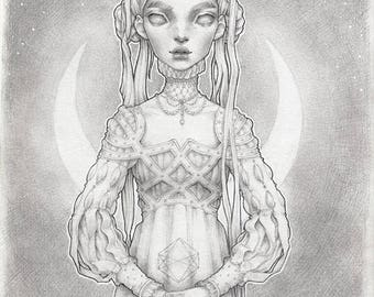"Original Graphite Drawing ""Ermionia"""