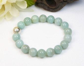 Amazonite Bracelet - Stretch Bracelet - Stackable Bracelet - Gemstone Beaded Bracelet - Womens Bracelet - Gift