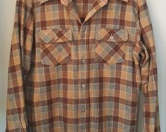 Vintage Mens Wool Fruit of the Loom Shirt / Wool Shirt / Mens Wool Shirt / Plaid Wool Shirt