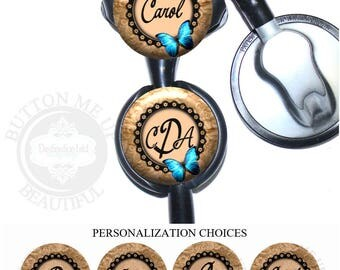 """1 1/2"""" Design Stethoscope ID Tag - Personalized Beige Floral with Blue Butterfly Nurse Littmann Identification (A390)"""