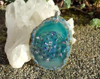 Flower of Life Necklace Spiritual Gift Sacred Geometry Pendant Agate Pendant Reiki Healing Energy  Crystal Grid Seed of Life Pendant Mandala