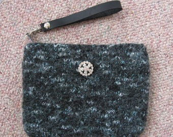 Clutch Wristlet Black with Teal Hand Knitted Wool Custom Lined