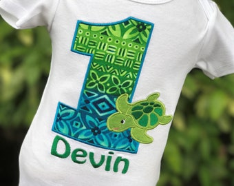 Sea Turtle Birthday Shirt - Personalized Birthday Shirt - Tropical Party - Under the Sea Birthday - First Birthday - Aquarium Party