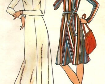 Vintage 70s Butterick 4005 Misses Hooded Caftan, Beach Coverup or Dress Sewing Pattern Size 10 Bust 32.5