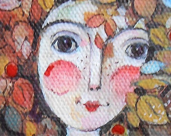 Original art painting Illustration Autumn Girl OOAK