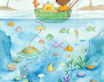 Monsters In the Deep - Black Boy and Yellow Monster Fishing -  Art Print