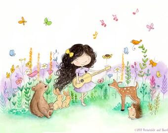 Making Music - Brunette Girl Playing Guitar for Baby Animals - Art Print