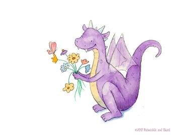 Firo's Flowers - Purple Dragon Art - Art Print