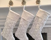 White Chenille Christmas Stocking Linen Vintage Cuff