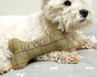 Personalised Tweed Dog Bone