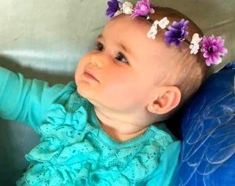 Purple baby flower crown photo shoot prop lavender toddler child Hair wreath Halo Wedding Accessories Bridal headpiece