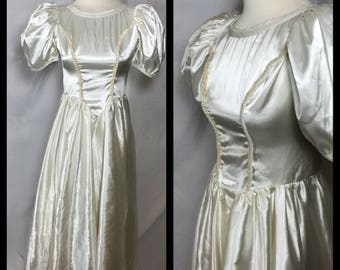 1980s White Satin Prom Dress with Sequins and Seed Bead Detail - Size Small