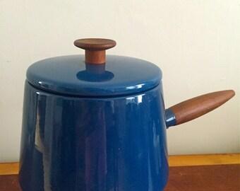 Vintage Mid Century Danish Modern Fondue Set - Michael Lax Design Holland Copco Midnight Blue Enamel & Teak Pot Warming Base Made in Denmark