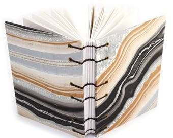 Black and Gold Agate Journal #1 -  Handmade book with Marbled paper covers made by Ruth Bleakley