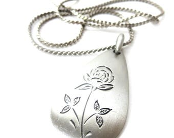 Vintage Etched Rose Flower / Floral Tear Drop Shape Silver Tone Pewter Metal Pendant Necklace