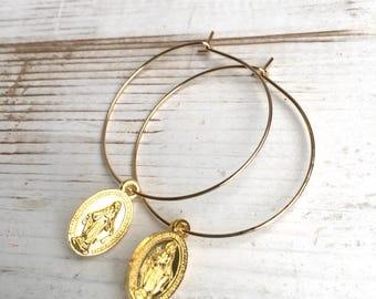 Miraculous Mary Earrings Boho Religious Gold Medal Earrings Saint Mary Cross Hoop Earrings Gift for Her Spiritual Bohemian Jewelry