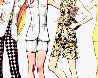 Simplicity 9873  Early 70s Misses' Pants in Two lengths, Vest, and Mini-Skirt Mod Hippie Vintage Sewing Pattern  Bust 36