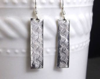 Diamond Waves Rectangle Sterling Silver Drop Earrings