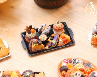 MTO-Beautiful Assortment of Halloween and Fall Pastries and Treats on Black Metal Baking tray - 12th Scale Miniature Food