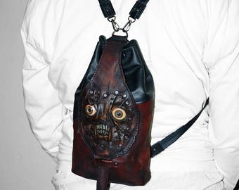 Leather backpack - Zombie backpack - Human flesh - Walking dead Post-Apocalyptic Steampunk backpack Necronomicon Halloween Zombie cosplay
