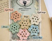 Crochet Flowers with 100% cotton yarn - French Vintage Style - Zircon - Queen Blue - Light Peach - Baby Pink - Light Beige - Beige