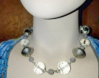 Large Faceted Rock Quartz with Large Silver beads and Gray Jade Necklace