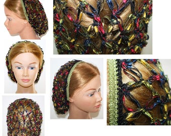 NEW, Civil War, Renaissance,reenactment, Hair Snood,Solomon Knot,Stained Glass Ribbon,Hair Net, Day wear,headdress,head piece,Costume,plays,