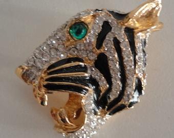 60s Roaring Tiger Head Black Enamel/Rhinestones Goldplate Brooch Vintage