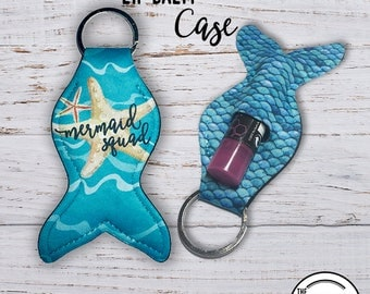 Mermaid Tail Lip Balm Keychain Case, Mermaid Squad Starfish Blue Scale  Lipstick Key Ring Carrying Cozy