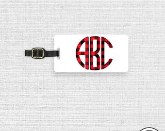 Luggage Tag Monogram Luggage Tag  With Printed Custom Info On Back , Single Tag Red Black Buffalo Plaid