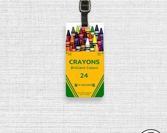 Luggage Tag Crayon Luggage Tag Personalized Box of Colors Crayon Box Luggage Tag Single Tag Teacher Art School