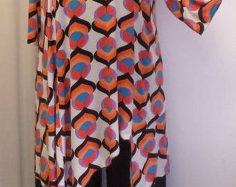 Coco Juan, Lagenlook Plus Size Top, Asymmetrical Tunic Top, Women's Tunic Top, Orange Pink, Print Knit Size 1 (fits 1X,2X)  Bust 50 inches