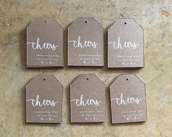 Cheers Mr. and Mrs. Kraft Tag Wedding Favors - Beer | Wine | Champagne Cheers Wedding Tags - Rustic Cheers Wedding Favor Tags - Many Colors
