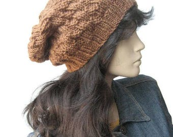 Bronze slouchy hat, Slouchy Tam, Fall Accessories, Brown Hat, Bronze Knit Hat, Womens Fashion, Vegan Knits