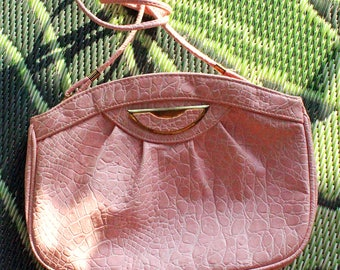 Cute and elegant vintage light pink genuine leather cross body purse/croco print leather bag