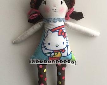 80s Rag Doll Cloth Doll Handmade Doll Vintage Fabric hello kitty