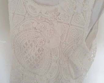white lace top, all lace, flower appliques, seed beads faux pearls, white lace tank