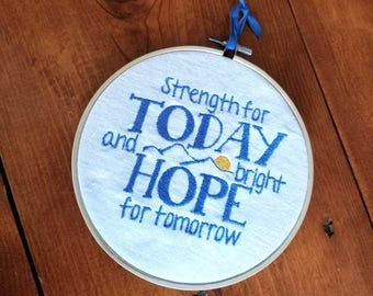 Great is Thy Faithfulness Strength for Today and Bright Hope for Tomorrow Embroidered Wall Hanging Home Decor Handmade Gift