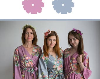 Gray and Mauve Wedding Color Bridesmaids Robes - Premium Rayon Fabric - Wider Belt and Lapels - Wider Kimono sleeves
