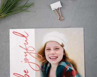 Custom Photo Holiday Cards, Christmas Cards, Elegant, Simple, Photography, Red, Modern, Personalized, Holidays - Be Joyful Holiday Card