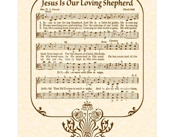 JESUS Is Our LOVING SHEPHERD - Christian Home & Office Decor Vintage Verses Sheet Music Hymn Wall Art Inspirational Wall Decor Antique Sepia