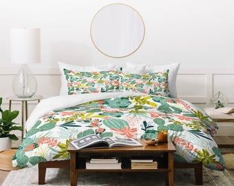 Bohemian Duvet Cover // Twin, Queen, King Sizes // Bedding // Succulent Garden Blush Design // Duvet // Succulent // Cactus // Boho Home