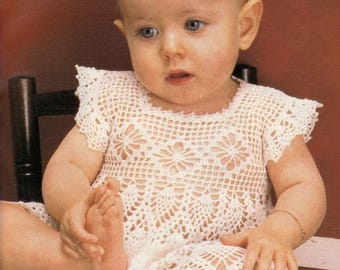 Adorable Pineapple Baby Dress THREAD CROCHET PATTERN Lacy Sun Dress e-pattern Instant Download